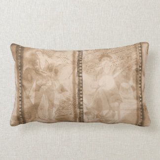 Victorian Musicians Sepia Film Collage - L Lumbar Pillow