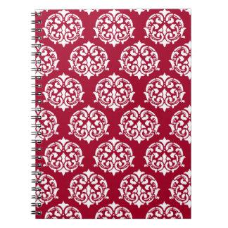 Victorian ornament pattern crimson and white note book
