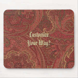 Victorian Paisley Pattern Rasberry Red Mousepad