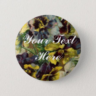 Victorian Pansies Button Pin | Customize