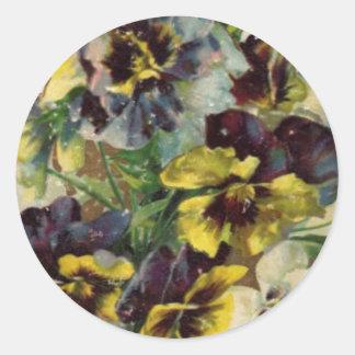 Victorian Pansies Sticker   Yellow Purple