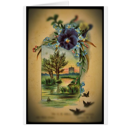 Victorian Pansy Pastoral Card