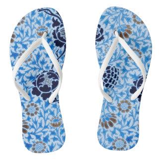 Victorian Pattern In Blue Flip Flops
