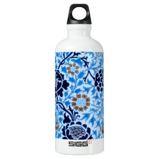 Victorian Pattern In Blue Water Bottle
