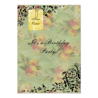 Victorian Peach birthday invitation