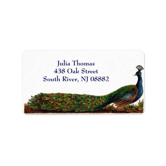 Victorian Peacock Address Labels Template