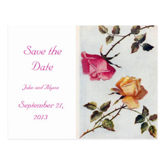 Victorian Pink and Yellow Roses Save the Date Card Postcard