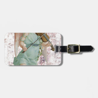 Victorian Pink Cherub Angel Playing Violin Luggage Tag