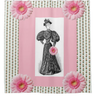 Victorian pink floral lady showercurtain