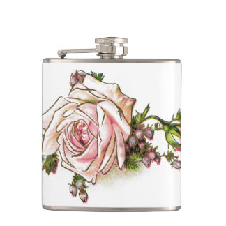 Victorian Pink Rose and Buds Flasks