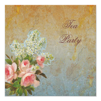 """Victorian Pink Rose Tea Party 5.25"""" Square Invitation Card"""