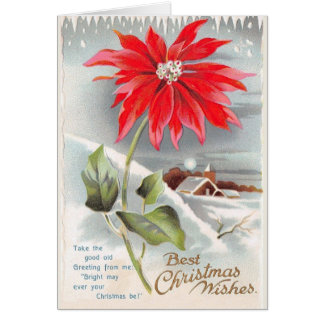 Victorian Poinsettia Christmas Greeting Card