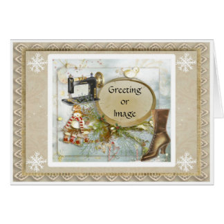 Victorian Prim Seamstress Holiday Christmas Card