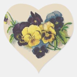 Victorian Purple and Yellow Pansies Flower Sticker