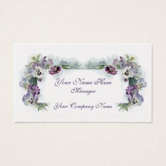 Victorian purple pansies business card