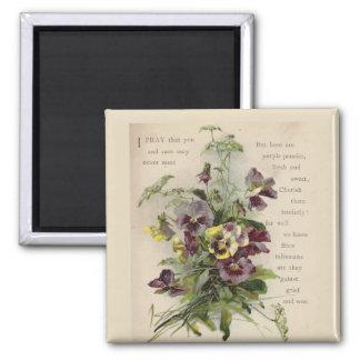Victorian Purple Pansies Poem Magnet