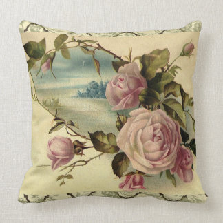 Victorian Rose Garden Gate by the Sea Throw Pillow