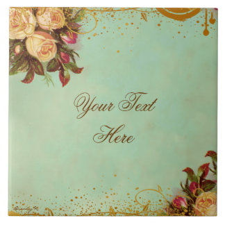 Victorian Rose Personalized Art Tile