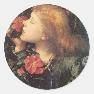 Victorian Rose Round Classic Round Sticker