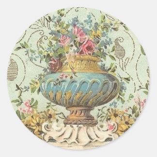 Victorian Rose Vase Classic Round Sticker