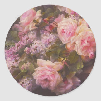 Victorian Roses and Lilacs Classic Round Sticker