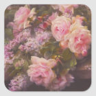Victorian Roses and Lilacs Square Sticker