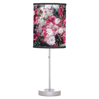 Victorian Roses Floral pink mauve white black lamp