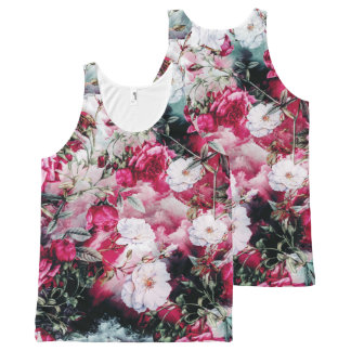 Victorian Roses Floral pink mauve white black tank