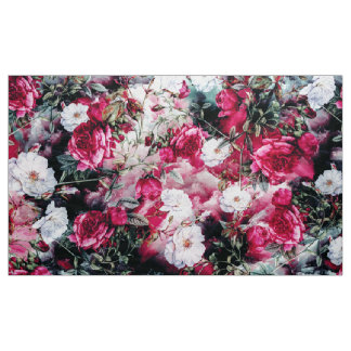 Victorian Roses Floral pink mauve white fabric