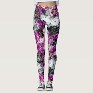 Victorian Roses Floral pink purple white black Leggings