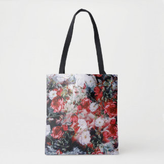 Victorian Roses Floral red white black bag
