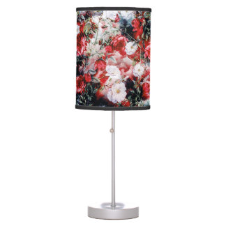 Victorian Roses Floral red white black lamp