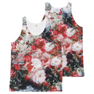 Victorian Roses Floral red white black tank
