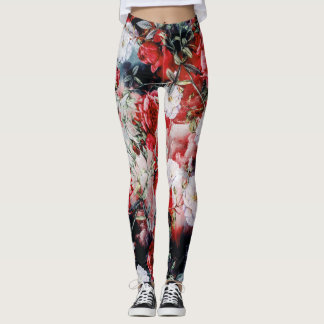 Victorian Roses Floral red white black yoga Leggings