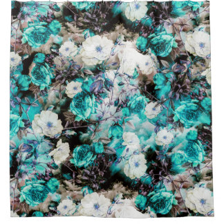 Victorian Roses Floral turquoise teal white black