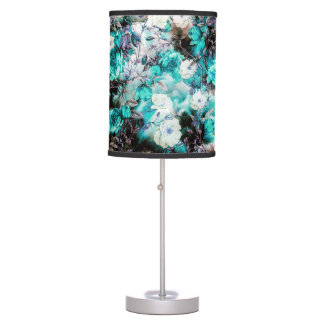 Victorian Roses Floral turquoise teal white black Desk Lamps
