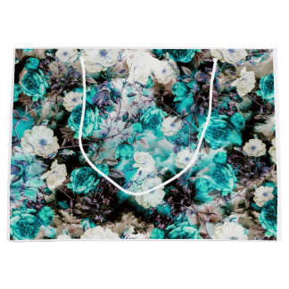 Victorian Roses Floral turquoise teal white black Large Gift Bag