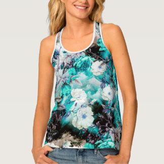 Victorian Roses Floral turquoise teal white black Tank Top