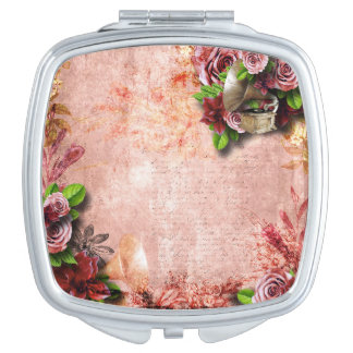 Victorian Roses gramophone love letter pink mauve Mirrors For Makeup
