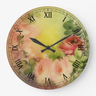 Victorian Roses Large Clock