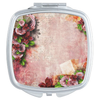 Victorian Roses mauve & pink book letter Travel Mirror