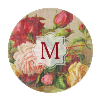 Victorian Roses Monogram Vintage Bouquet Flowers Boards