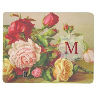 Victorian Roses Monogram Vintage Bouquet Flowers Journal