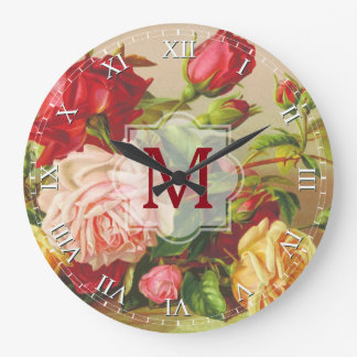 Victorian Roses Monogram Vintage Bouquet Flowers Large Clock