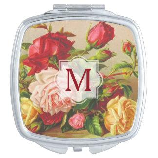 Victorian Roses Monogram Vintage Bouquet Flowers Mirror For Makeup