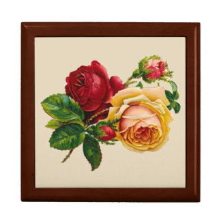 Victorian Roses Square Tile Keepsake Box