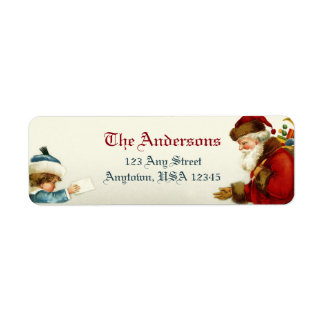 Victorian Santa and Child with Christmas Letter Return Address Label
