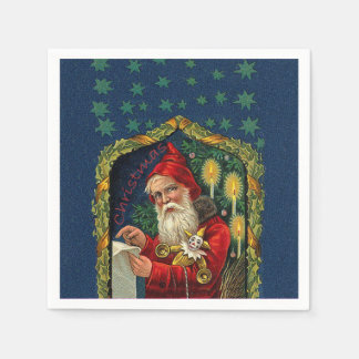 Victorian Santa Checking List Candles Holly Disposable Napkins