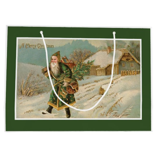 Victorian Santa Christmas Large Gift Bag