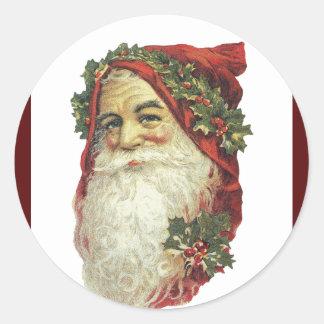 Victorian Santa Claus Classic Round Sticker